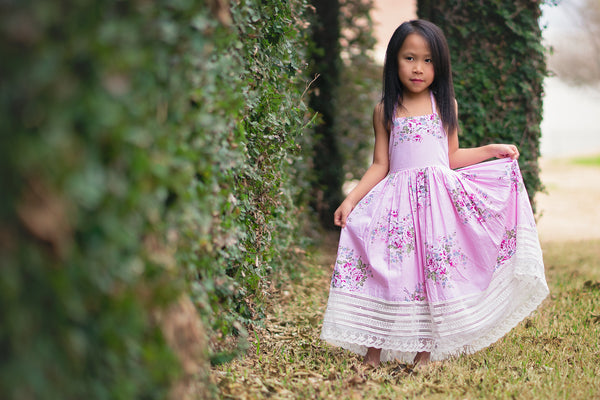 rose print pink Easter dress for girls toddlers - Belle & Kai