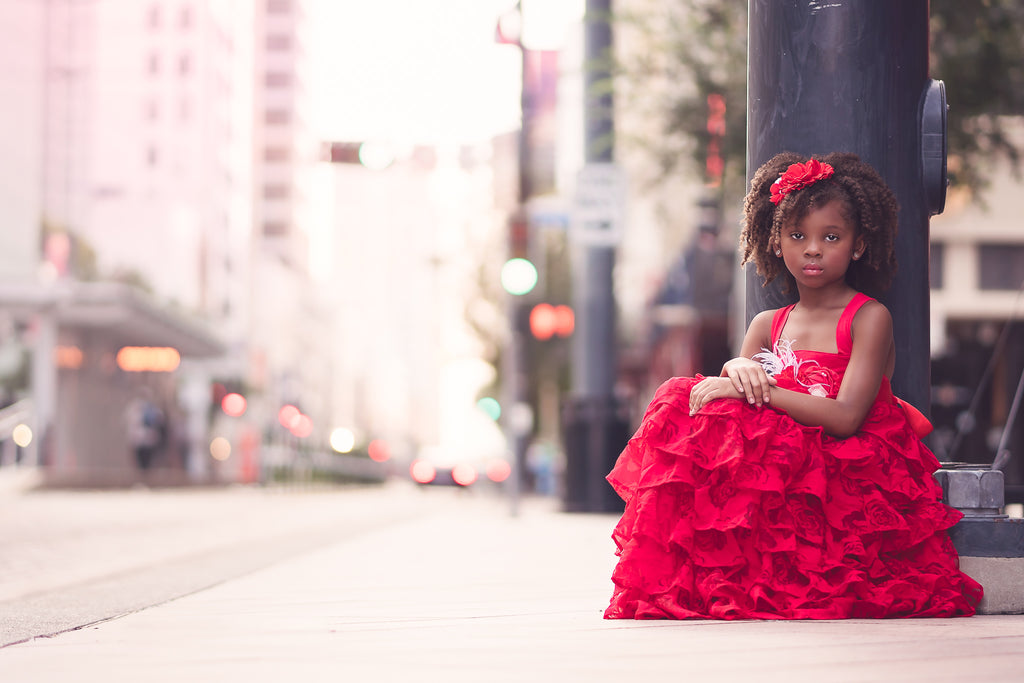red ruffle rustic vintage flower girl dress Christmas holiday dress