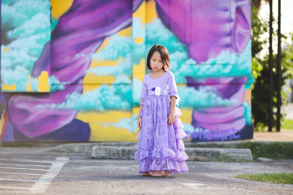 rustic flower girl toddler lavender princess dresses purple ruffle junior bridesmaid dress