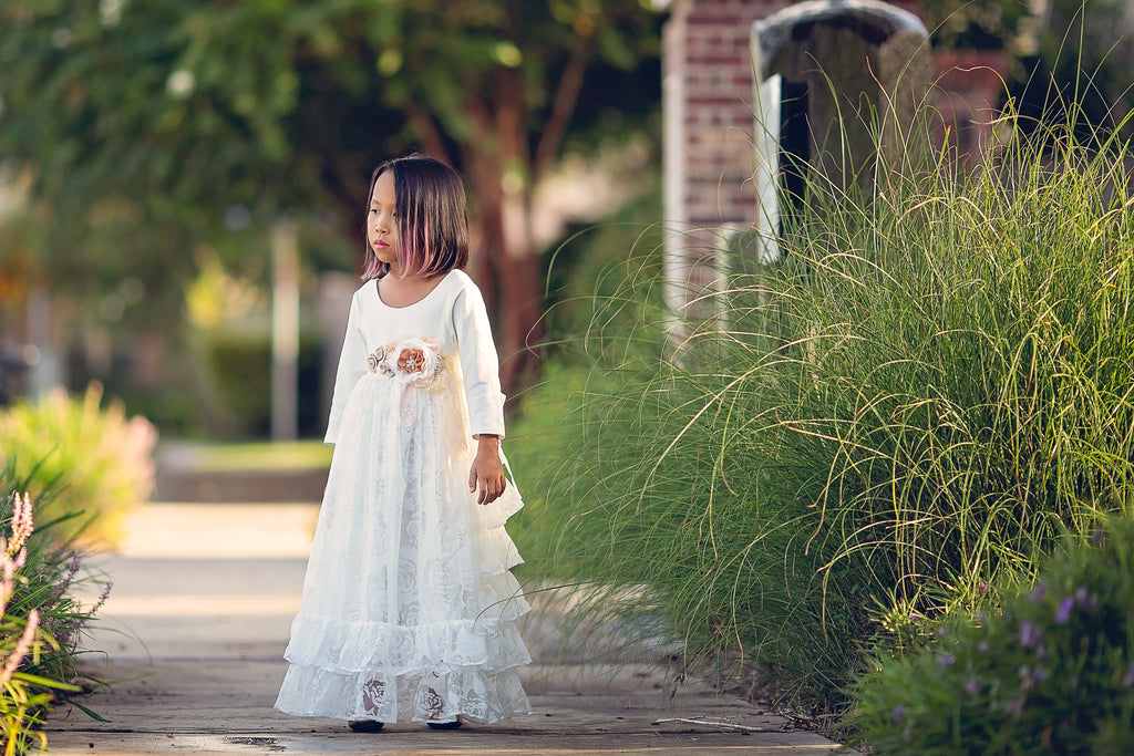 rustic floor length white flower girl princess toddler dress Christmas Holiday Dress