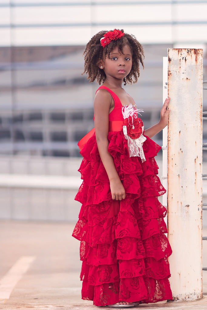 rustic vintage red flower girl ruffle dresses holiday Christmas dress