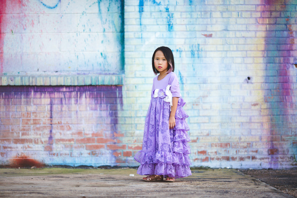 princess flower girl lavender purple dress rustic tween junior bridesmaid ruffle dress