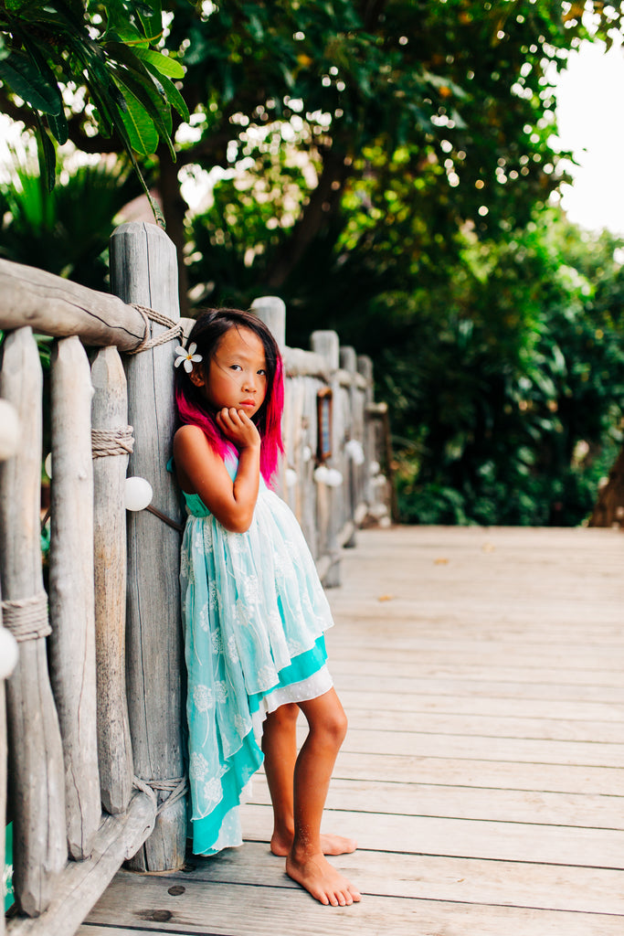 turquoise blue boho chic flower girl beach high low dresses