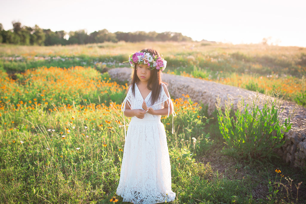 tween bohemian vintage lace maxi dress boho rustic flower girl dresses