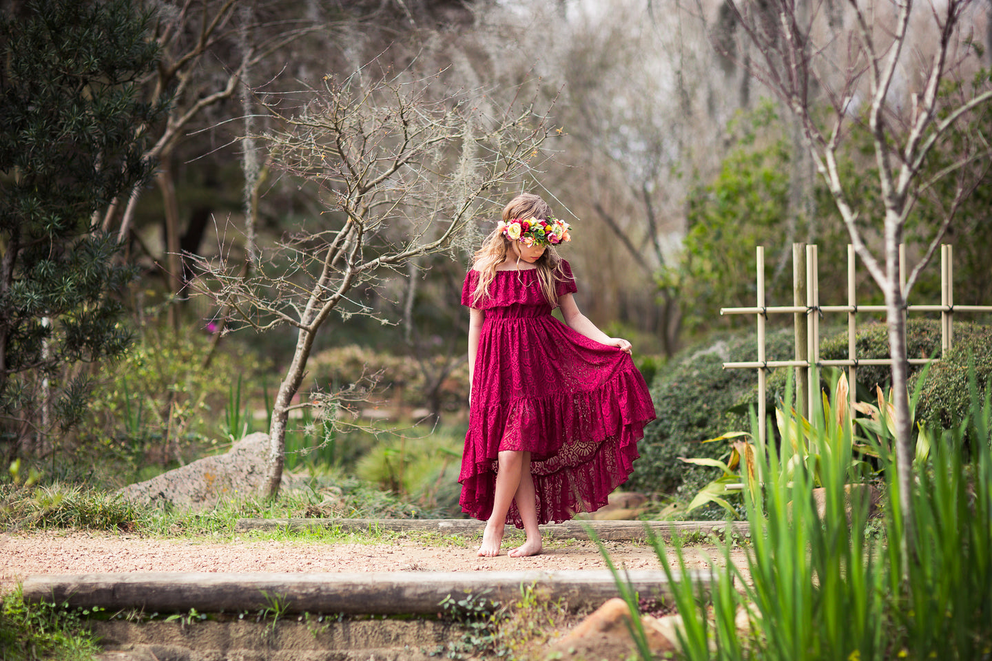 burgundy lace high low boho flower girl dress