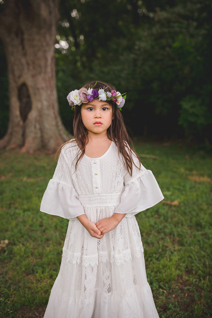bohemian flower girl lace maxi dress boho mommy and me dresses