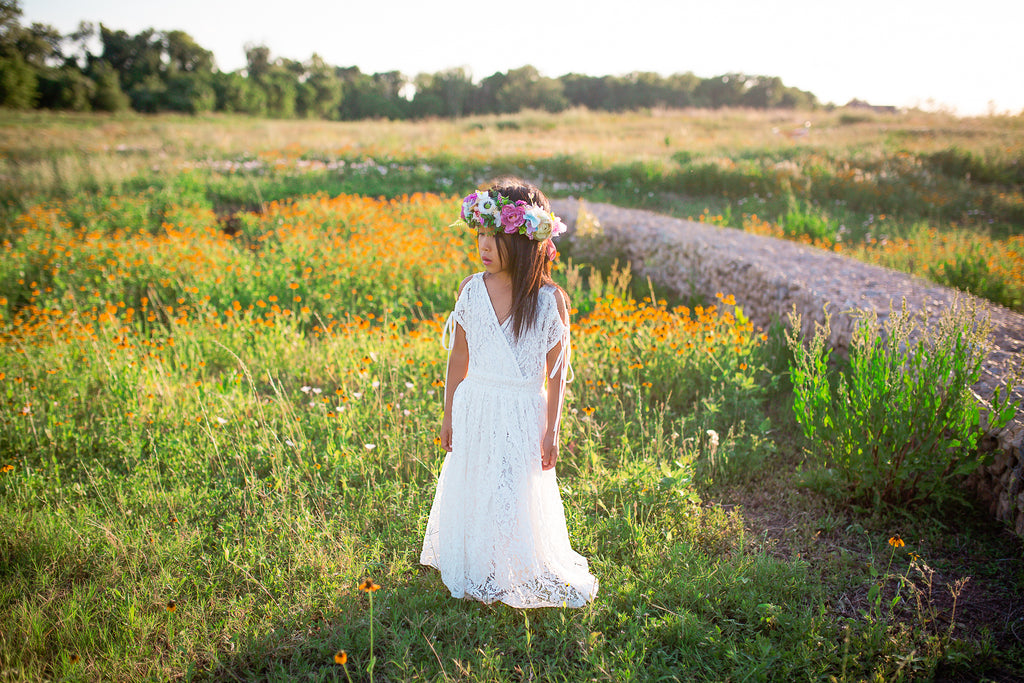 tween boho cold shoulder maxi dress bohemian flower girl white lace dress