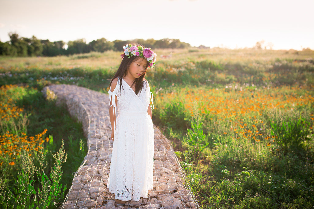 vintage lace flower girl tween dress bohemian beach white lace maxi dresses
