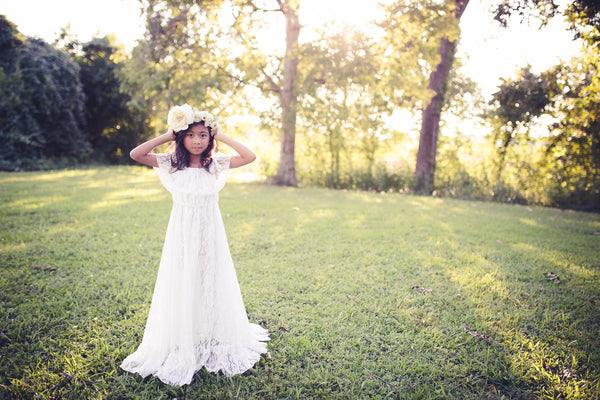bohemian lace white flower girl dress