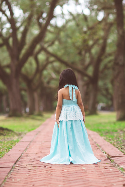 aqua baby blue boho flower girl linen lace maxi dress
