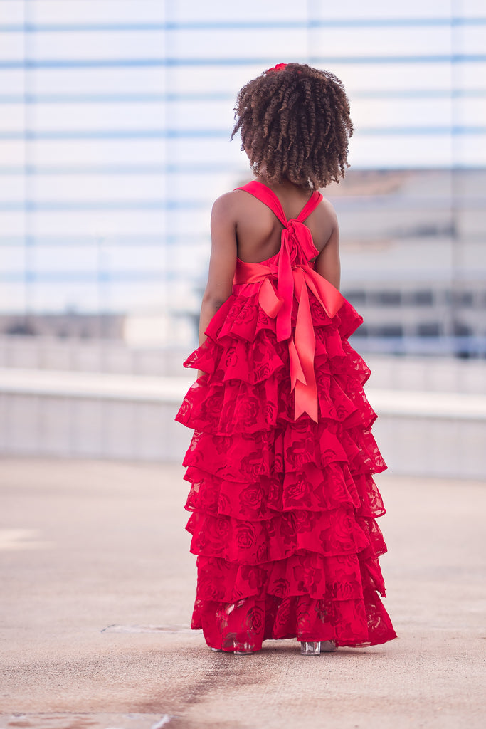 vintage rustic flower girl ruffle dresses red Christmas holiday dresses