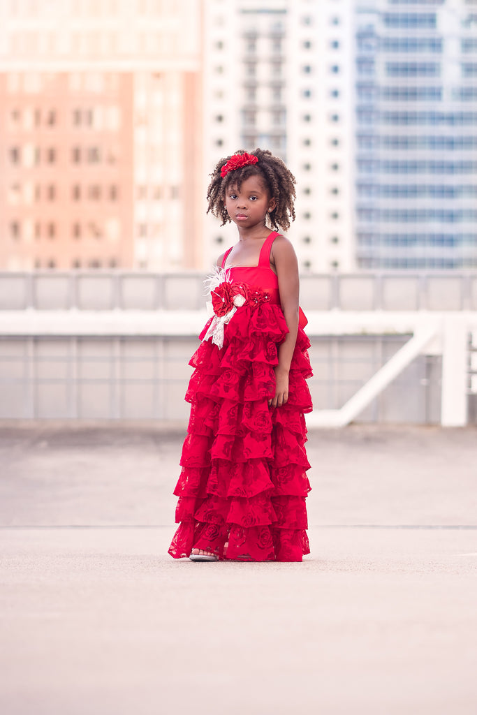 vintage rustic red flower girl ruffle dresses Christmas holiday dress