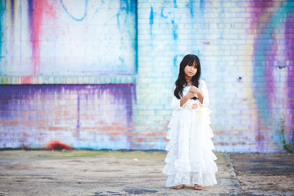vintage rustic white flower-girl ruffle dresses country junior bridesmaid dress