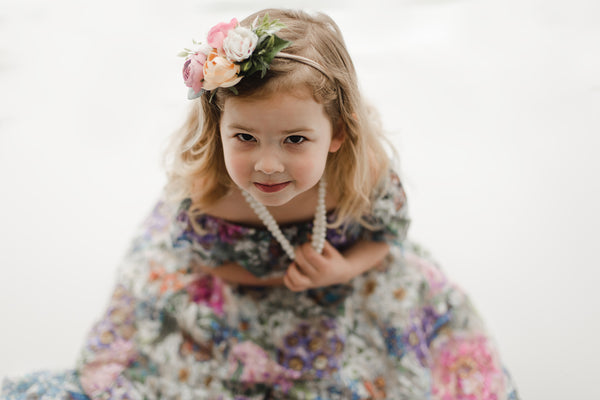 bohemian floral lace maxi dress girls and vintage tea party photoshoot - Belle & Kai