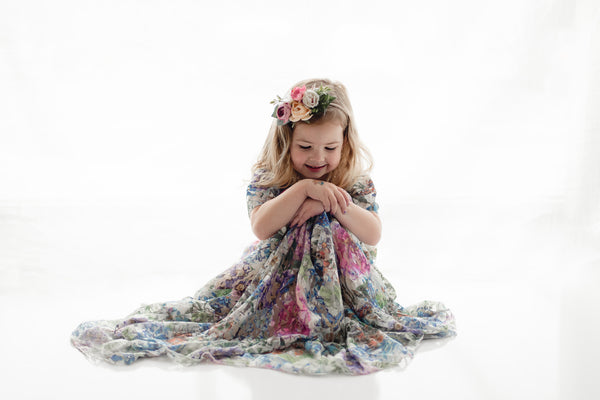 girl toddler floral lace maxi dress and vintage tea party photography - Belle & Kai