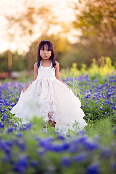 bohemian white flower girl high low dress hi low dress