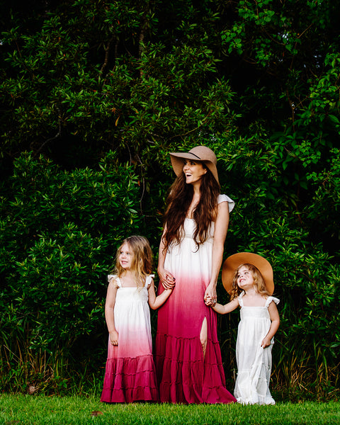 boho ombre pink mommy and me dresses
