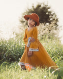 bohemian mustard little girl maxi dress