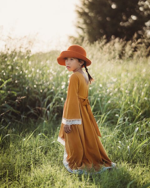 mustard yellow bohemian child maxi dress