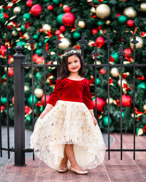 little girl gold Christmas dress