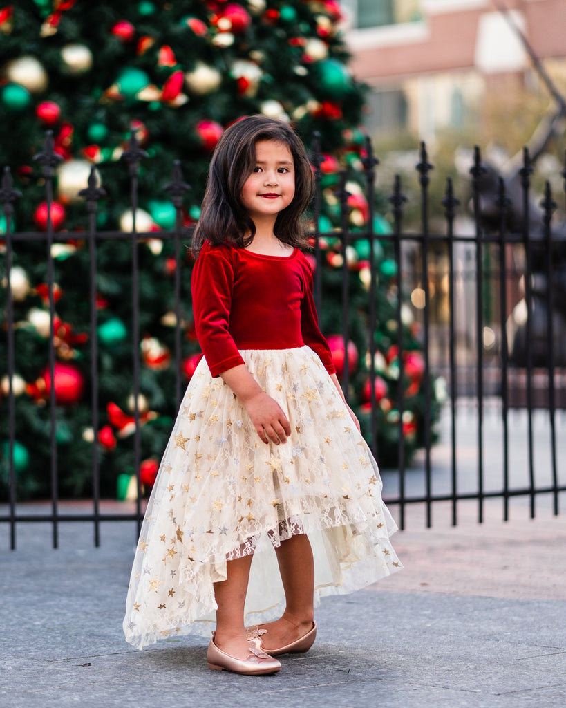 toddler girl gold Christmas dress