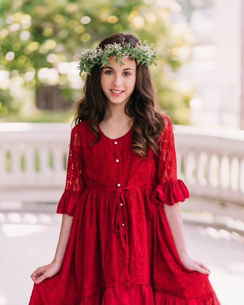 Mara Lace Dress in Cranberry Red