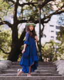 Mara Lace Dress in Sapphire Blue