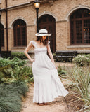lady's bohemian ivory beach maxi dress