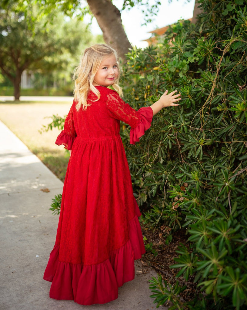 little girl Christmas lace dress