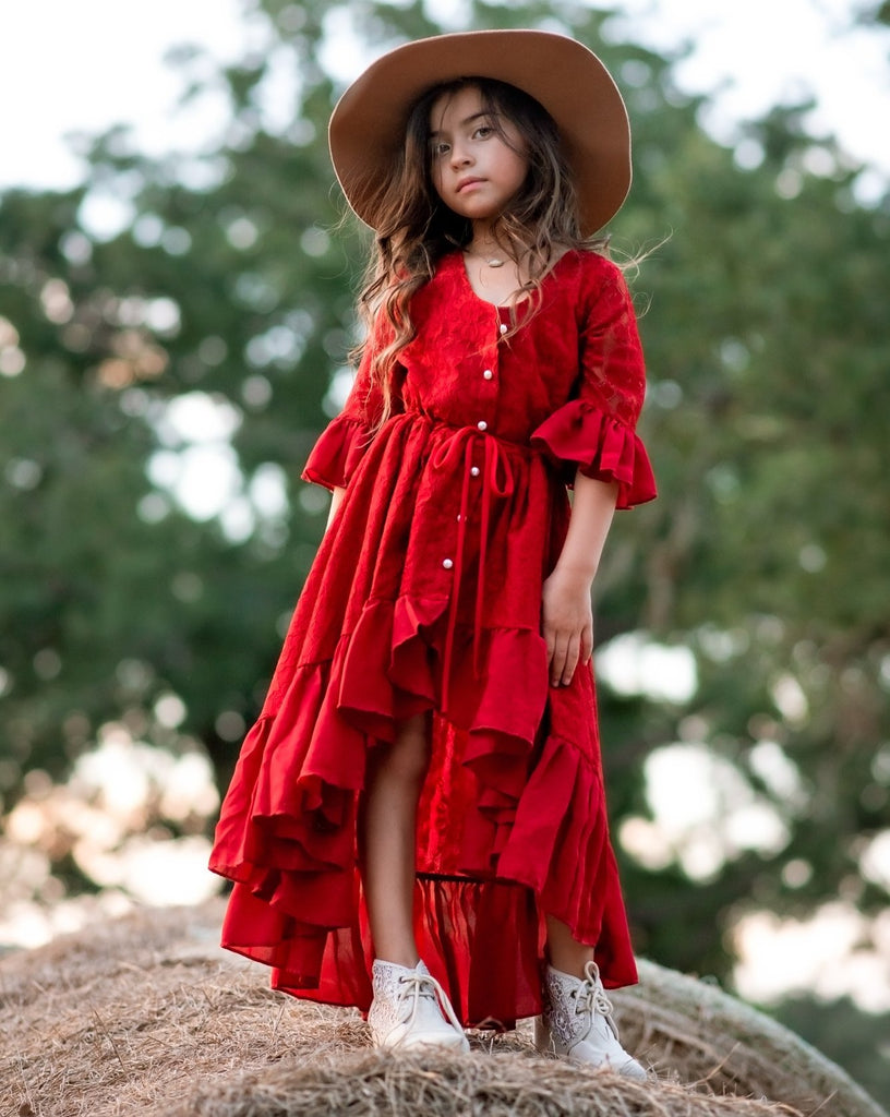 girl boho lace ruffle dress