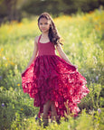 bohemian high low flower girl dress burgundy - Belle & Kai
