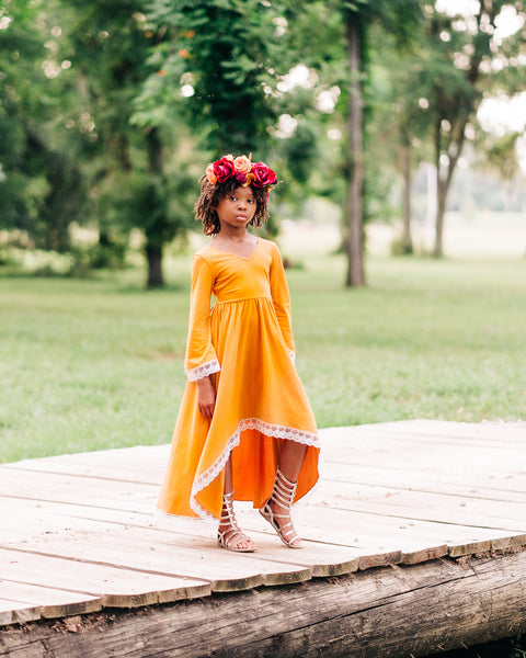 bohemian fall mustard yellow flower girl high low dress