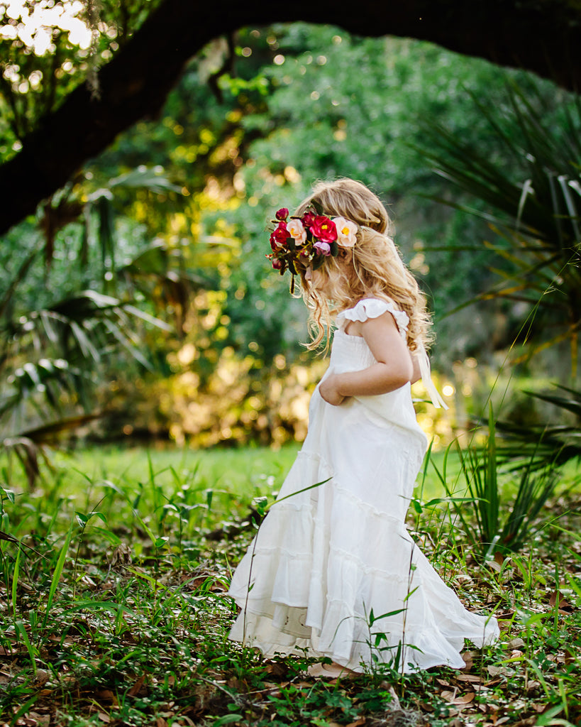 bohemian flower girl ivory maxi dress