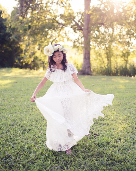 boho white lace off shoulder flower girl dress - Belle & Kai