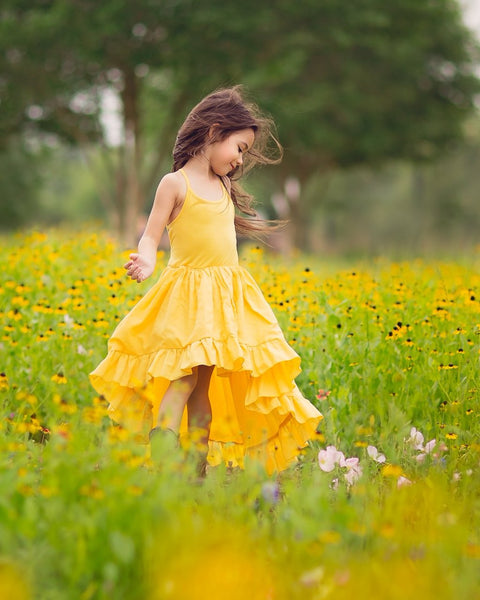 yellow boho linen flower girl high low dress - Belle & Kai