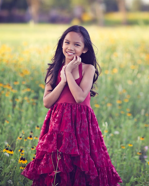 bohemian country flower girl burgundy red dress - Belle & Kai