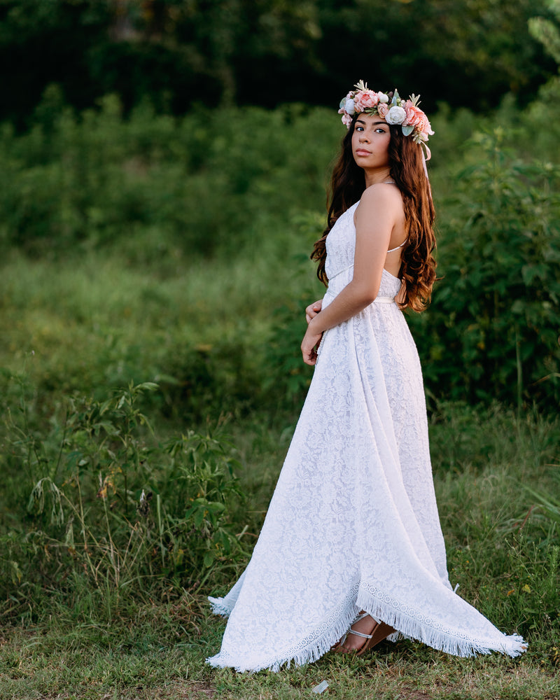 bohemian gypsy lace wedding gown