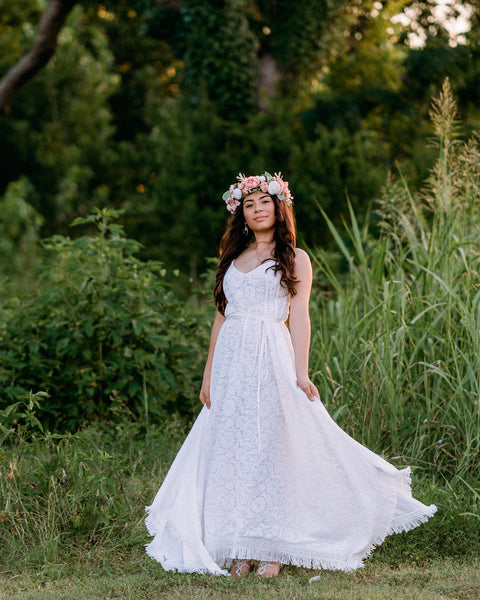 bohemian lace elopement maxi dress