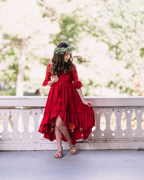bohemian rustic lace burgundy red flower girl high low dress