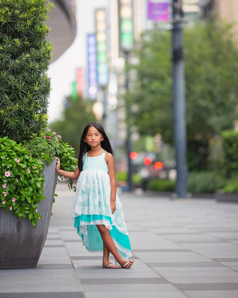 turquoise blue boho flower girl high low dress