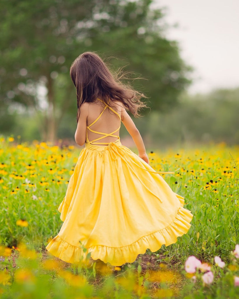 boho yellow high low flower girl linen maxi dress - Belle & Kai