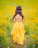 boho high low flower girl linen yellow maxi dress - Belle & Kai