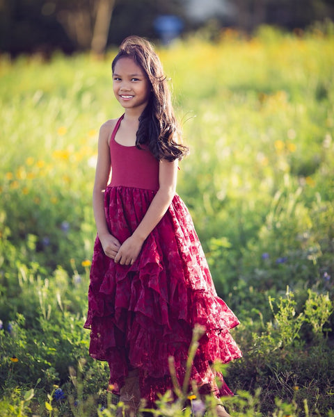 boho rustic flower girl high low dress burgundy - Belle & Kai
