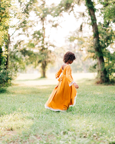 boho fall mustard yellow junior bridesmaid high low dress
