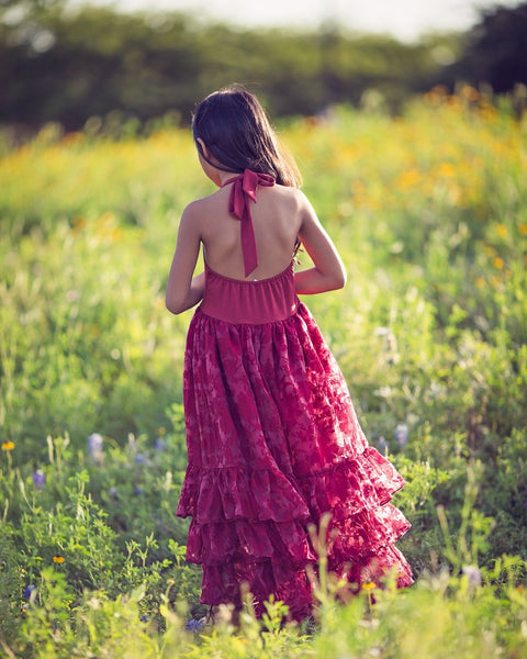 boho burgundy flower girl dress back - Belle & Kai
