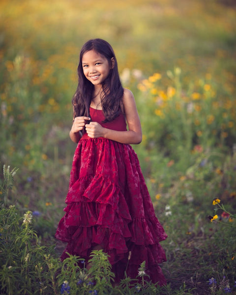 boho flower girl maxi high low dress burgundy red - Belle & Kai