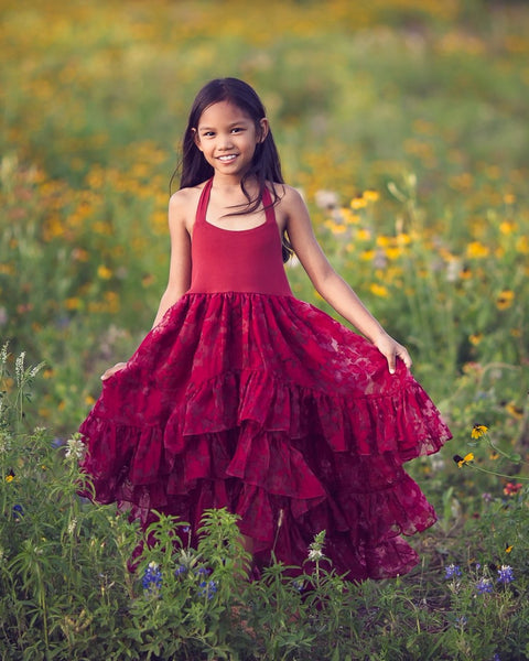 boho burgundy red high low flower girl dress - Belle & Kai