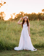 boho hippie white lace wedding dress