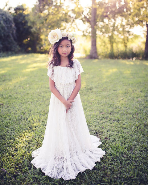 bohemian white lace first communion dress - Belle & Kai