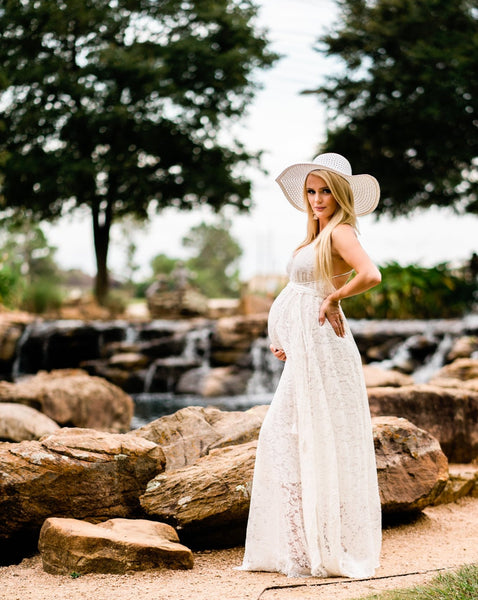 boho lace maternity maxi dress